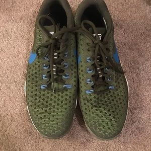 Men's green and blue nike shoes